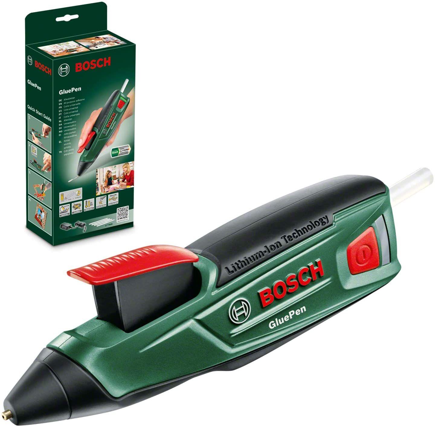 Bosch Akku Heißklebepistole GluePen (Micro-USB-Ladegerät, 4x Klebestick Ultrapower, 170°, 3,6 Volt, 30 Min. Akkulaufzeit)