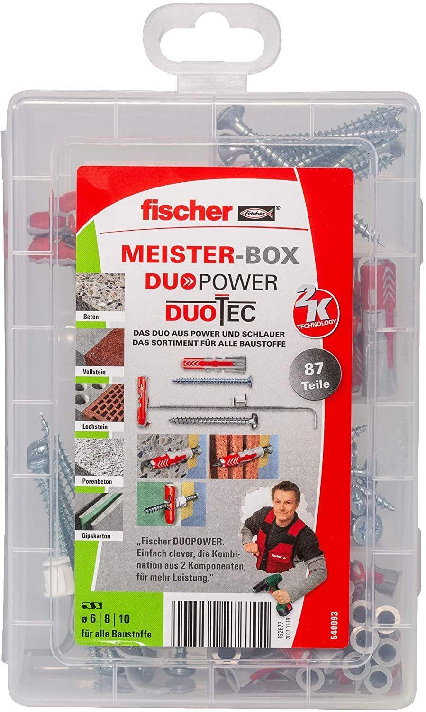 [Amazon Prime] fischer MEISTER-BOX DUOPOWER/DUOTEC, Werkzeugkiste mit 87 Dübeln und Schrauben, Universaldübel