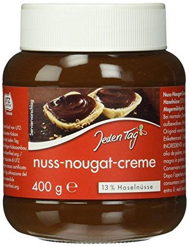 """4 x 400g Nuss-Nougat-Creme von """"Jeden Tag"""" mit 13% Haselnüssen für 3,87€ (96,7c/Glas)"""
