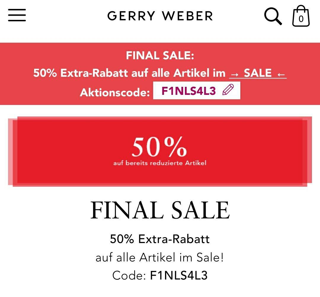 50% auf bereits reduzierte Artikel bei Gerry Weber (auf alle Artikel im Sale)