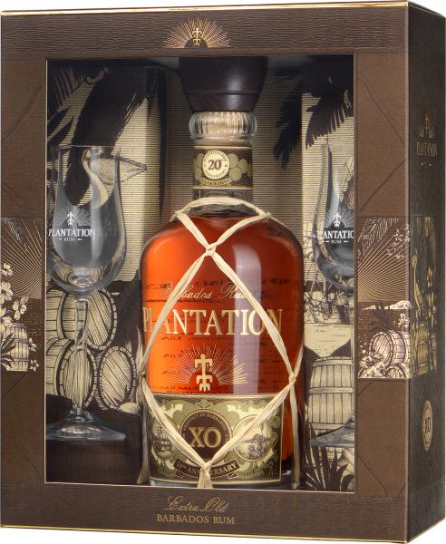 Plantation Barbados XO 20th Rum in Geschenkpack mit 2 Gläsern [BEVBOX]