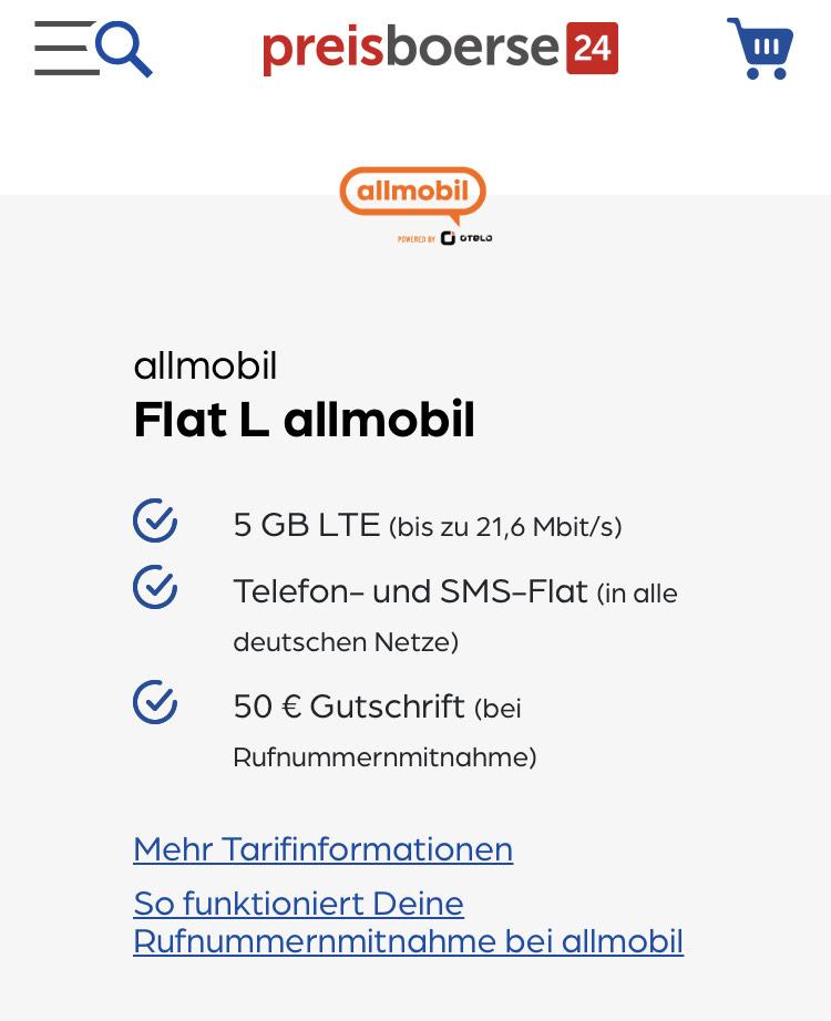 allmobil 5GB Tarif Telefon & SMS Flat (Netz VofafoneD2)