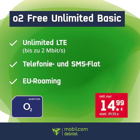 Unlimitiertes Datenvolumen: mobilcom-debitel o2 Free Unlimited Basic (2 Mbit/s) für eff. mtl. 12,91€ durch 55€ Sofortbonus