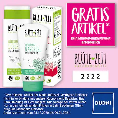 (Lokal) Freebie bei Budni: Gratis Naturkosmetik von Blütezeit