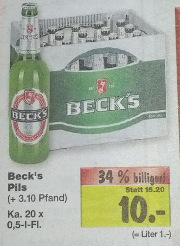 [Kaufland] 1 Kasten Becks Pils 20x 0,5l = 10€ (+3,10€ Pfand)
