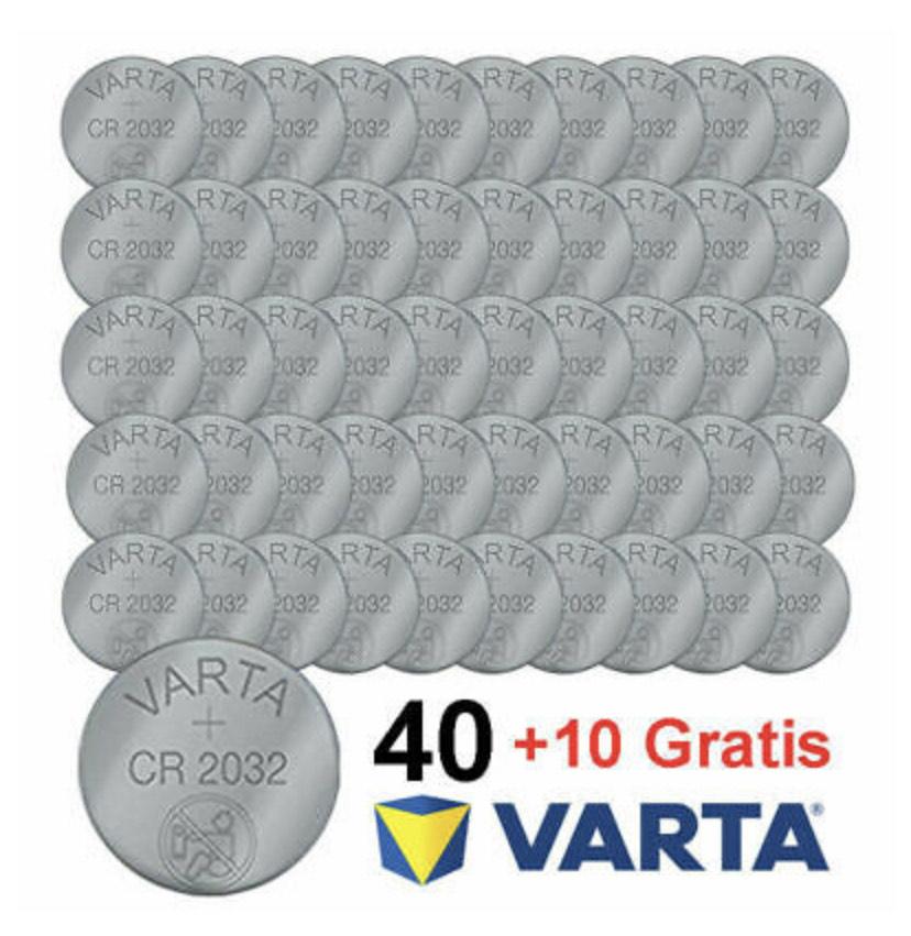 [ebay] 50x Varta 2032 Knopf Batterie