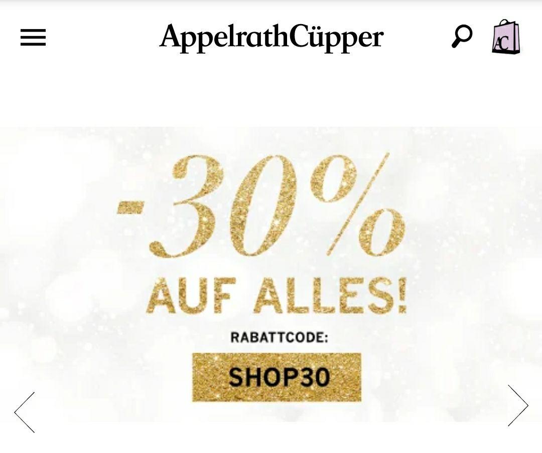 AppelrathCüpper: 30% Rabatt auf alles (evtl. 8% Shoop möglich)