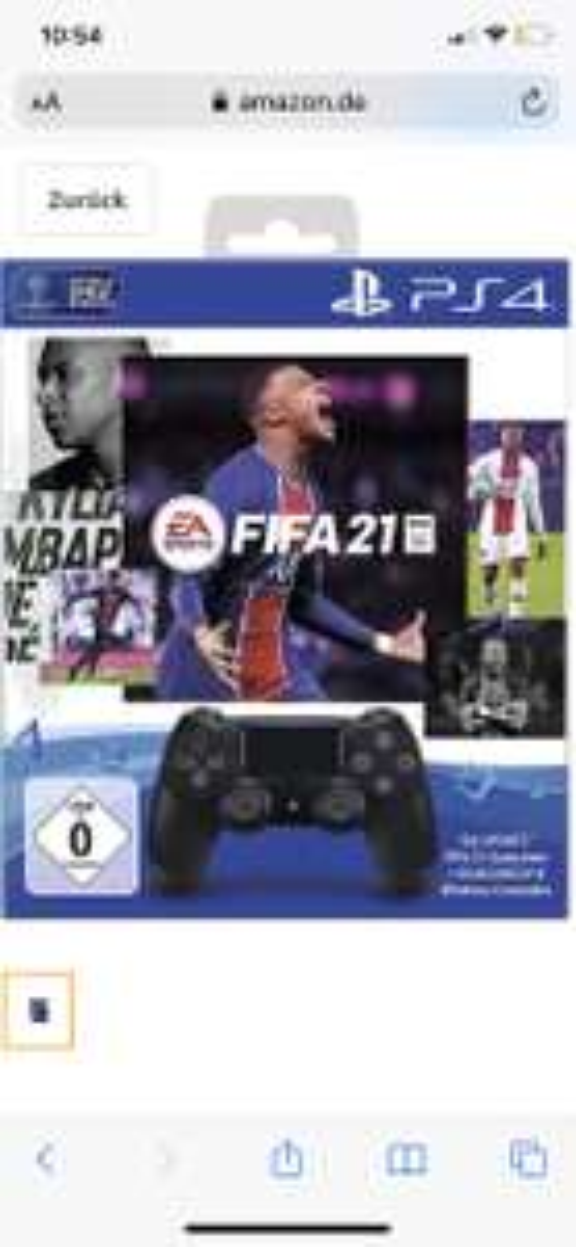 PS4 Controller V2 Black + Fifa 21 Amazon