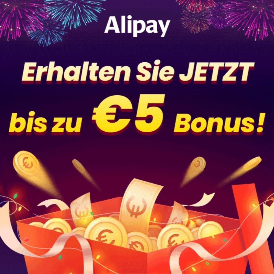 AliPay: 5€ Bonus bei 50€ Aufladung // 2€ Bonus bei 20€ Aufladung