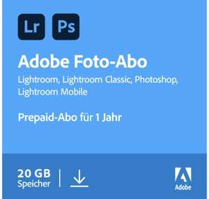 Amazon: Adobe Creative Cloud Foto-Abo: Photoshop und Lightroom | 1 Jahreslizenz | PC/Mac Online Code & Download