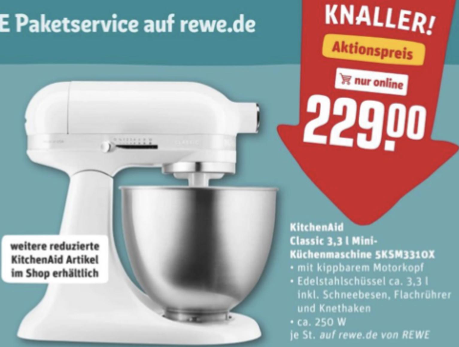 KitchenAid Classic Mini 5KSM3310X 3,3 Liter Küchenmaschine für 233,95€ inkl. Versandkosten
