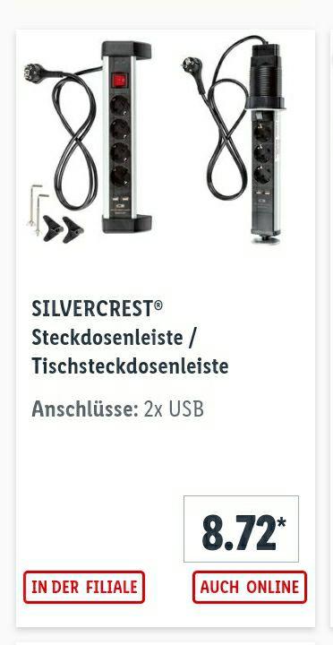 Steckdosenleiste 4-fach mit 2 USB 2,4A Ladeanschlüssen & Tischklammern, oder versenkbare Ausführung 3-fach - 3J Garantie [lokal / Abholer]