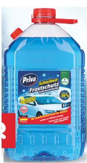 5 Liter-Kanister Priva Scheibenfrostschutz (bis -30°C) für 2,97 Euro oder 750 ml Scheibenenteiser (bis -70°C) für 1,47 Euro [Netto MD]