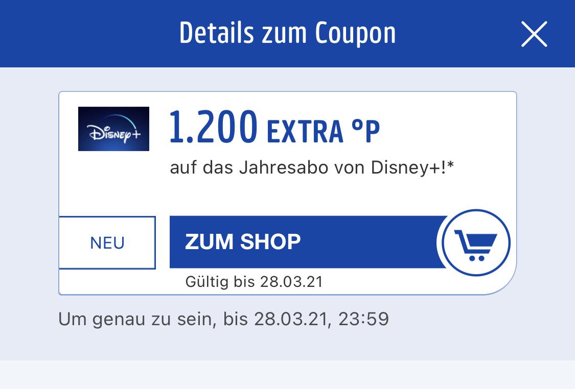 Disney+ 20 %Rabatt über Payback App