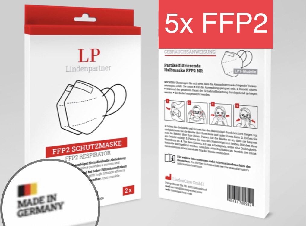 5x FFP2 Lindenpartner Atemschutzmaske Germany CE 2841 einzeln verpacktLP1 GERMANY FFP2 5-lagiges Vlies