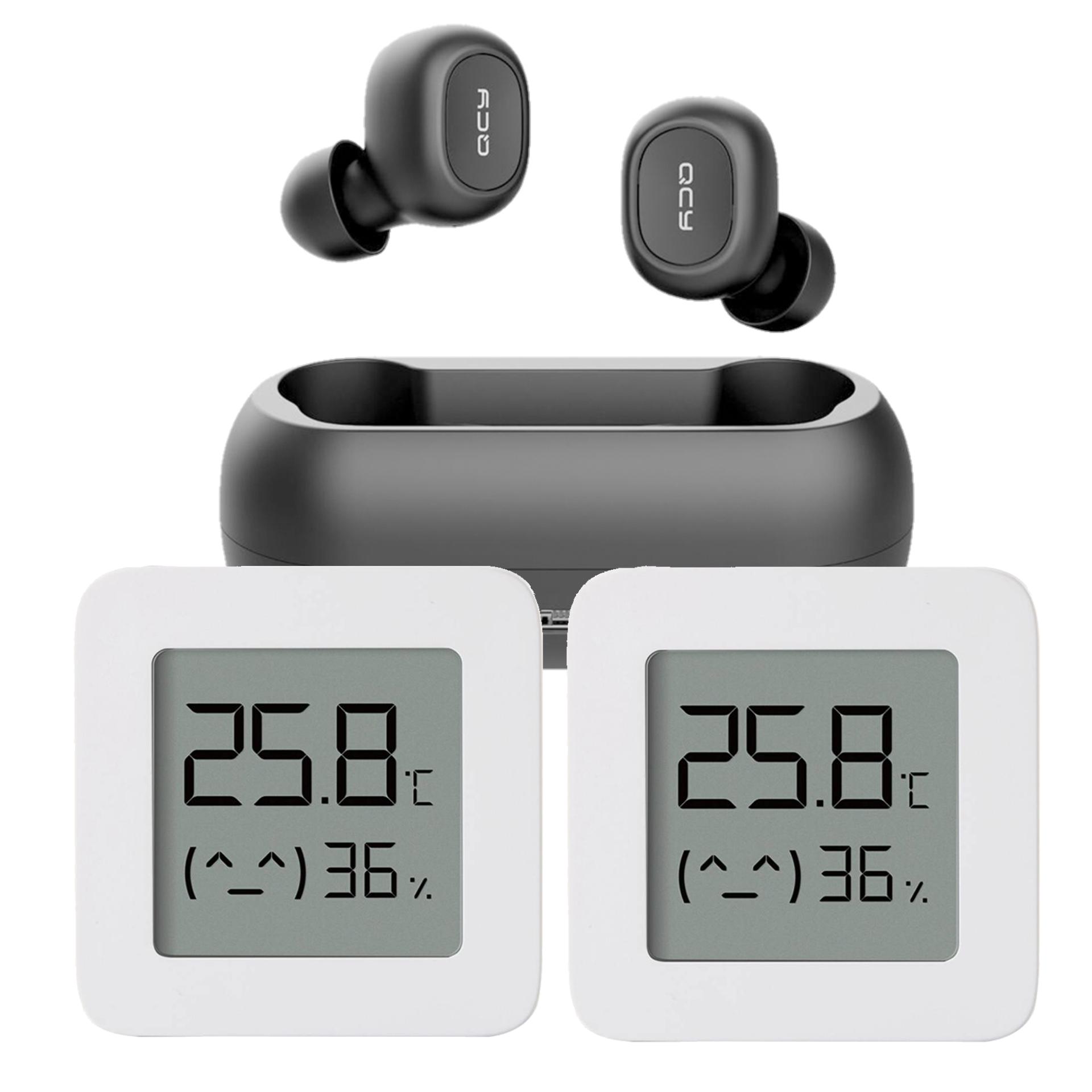 QCY T1C TWS Kopfhörer + 2x Xiaomi Thermometer (Bluetooth, Gateway Kompatibel, 1 Jahr Akkulaufzeit, CR2032 Enthalten)