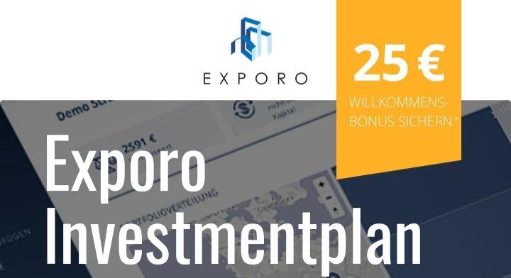 Exporo Investment-Plan, 25€ Bonus