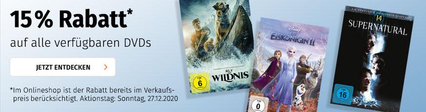 [Müller] 15% Rabatt auf DVD Filme & TV Serien nur gültig am Sonntag, 27.12.2020