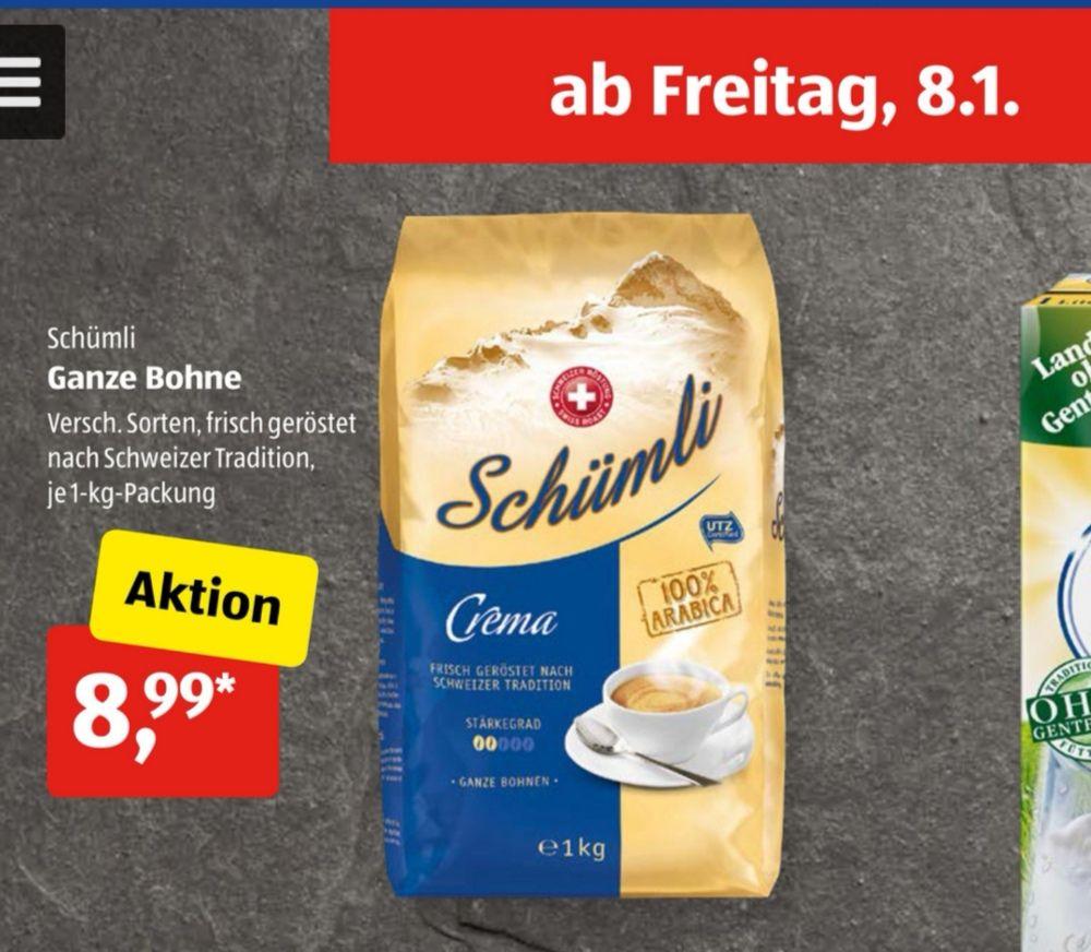 """Kaffee """"Schümli Crema Ganze Bohne"""" 1 kg (offline)"""