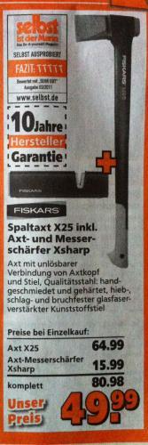FISKARS Spaltaxt X25 inkl. Axt- und Messerschärfer Xsharp