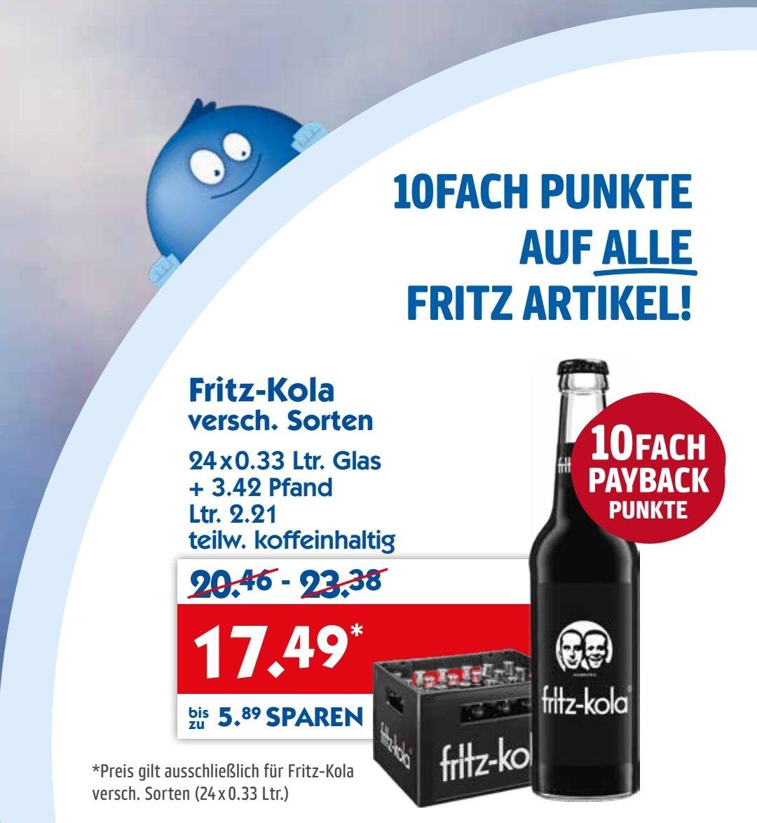 [HOLAB] Fritz Kola Kasten 24x 0,33l + 10fach Payback-Punkte