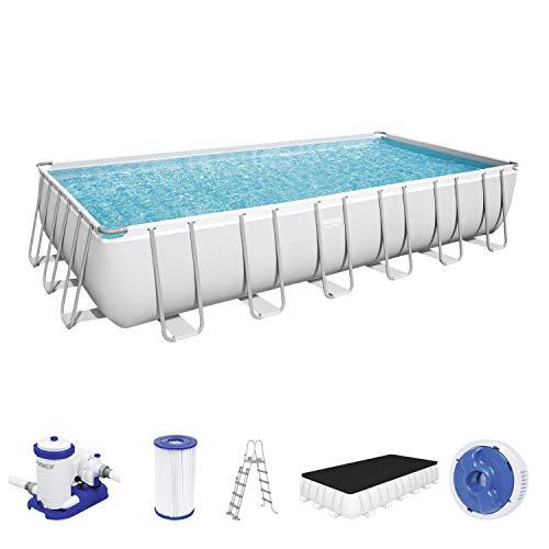 Power Steel Frame Pool 732 x 366 x 132 cm Komplett-Set, eckig, mit Filterpumpe, Sicherheitsleiter & Abdeckplane @amazon Vorbestellung
