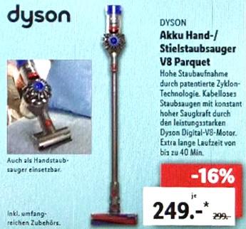 Lokal Lidl Chemnitz: Dyson V8 Parquet Akku Handstaubsauger für 249€ / Makita Akku Schlagbohrschrauber 18V für 84,99€ / Honor 9 Lite 64,99€