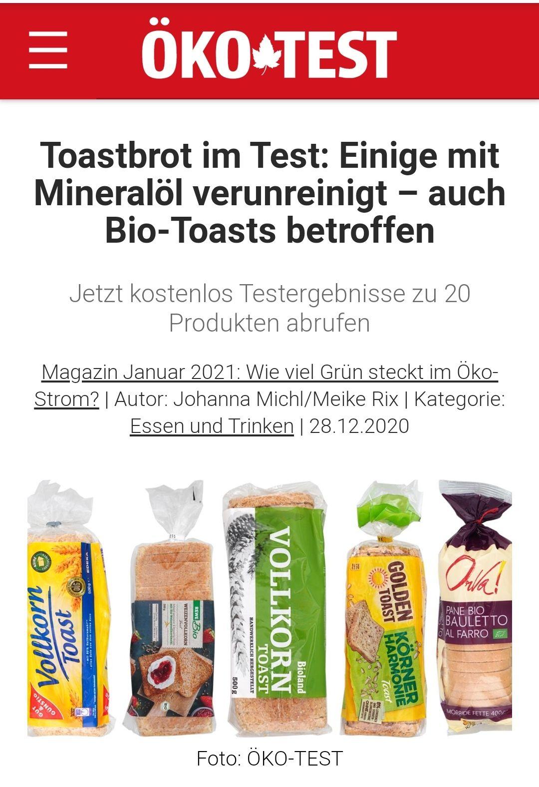 """Ökotest. """"Toastbrot im Test"""" Artikel kostenlos zum anschauen"""