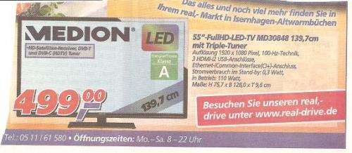 """Medion 55"""" LED-TV mit Triple Tuner Lokal Hannover-Isernhagen@Real"""