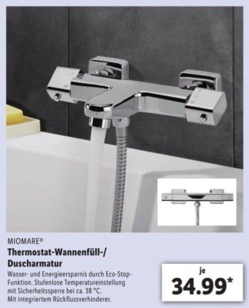 Thermostat Armatur Miomare für die Dusche als auch für die Wanne