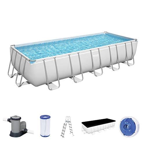 Power Steel Frame Pool 640x274x132 cm Komplett-Set, eckig, mit Filterpumpe, Sicherheitsleiter & Abdeckplane @ Amazon Vorbestellung