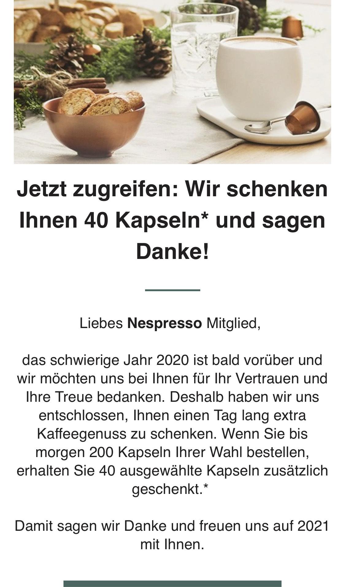 Nespresso Kaffee - 40 Kapseln gratis bei Kauf von 240 Kapseln für eff. 76€