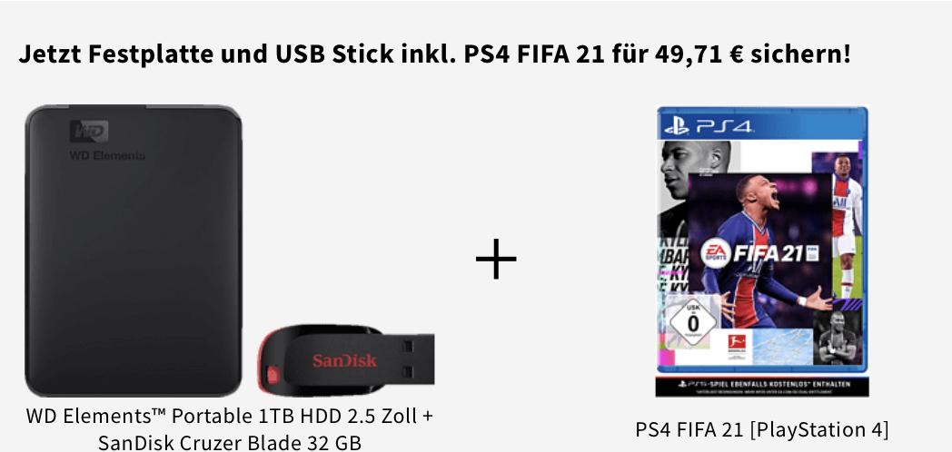 [offline] WD Elements™ Portable 1TB HDD 2.5 Zoll + SanDisk Cruzer Blade 32 GB + Fifa 21 für die PS4 (gratis Upgrade für PS5)