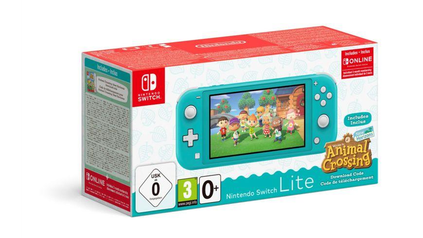 Nintendo Switch Lite in Türkis / Koralle & Animal Crossing + 3 Monate Online Mitgliedschaft (mit Rossmann Gutschein)