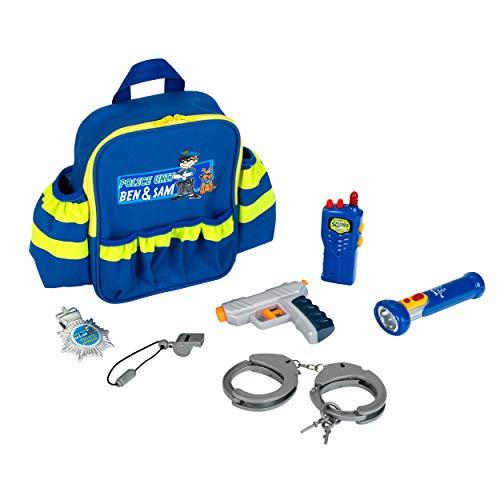 Theo Klein 8802 Police Unit Ben und Sam Polizei-Rucksack mit Zubehör I Mit batteriebetriebener Taschenlampe, Handschellen und vielem mehr