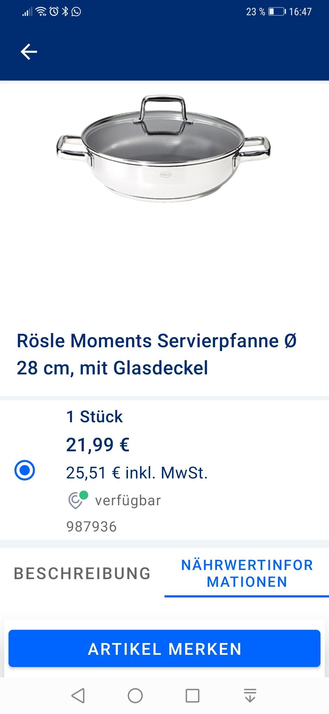 Rösle Servierpfanne Moments Edelstahl Induktion 28 cm