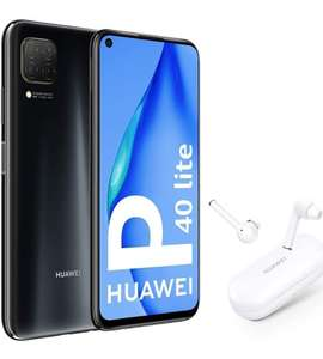 "HUAWEI P40 Lite - Smartphone mit 6,4 ""FullView-Bildschirm (Kirin 810, 6 GB RAM, 128 GB ROM, 48 MP, Quad-Kamera Schwarz + Freebuds 3i Weiß"
