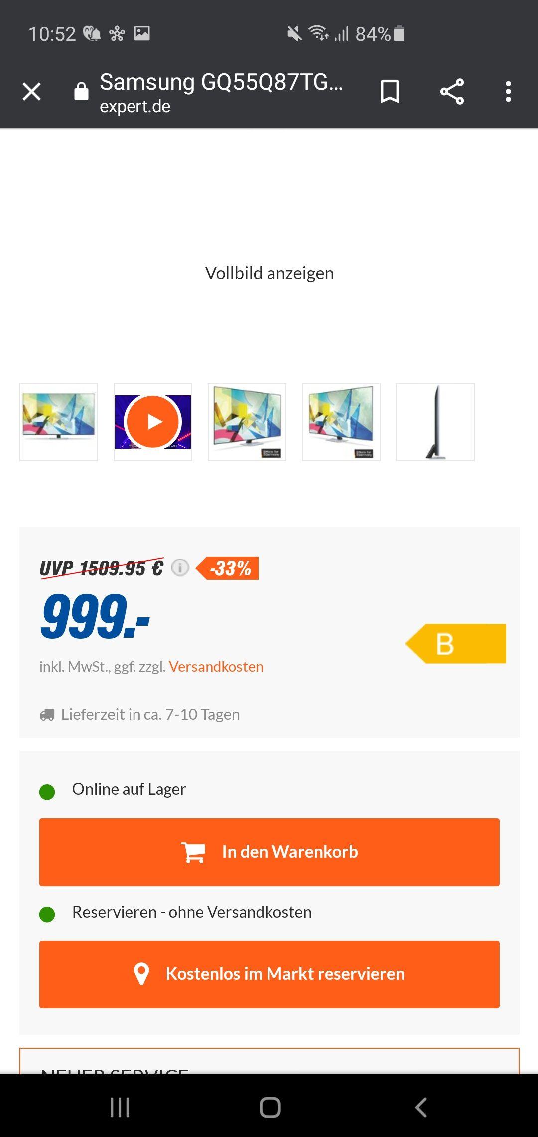 Samsung GQ55Q87TGTXZG QLED TV inkl. Gratis A51 und 12 Monate DAZN, Rakuten TV und Sky Ticket für eff. 999€