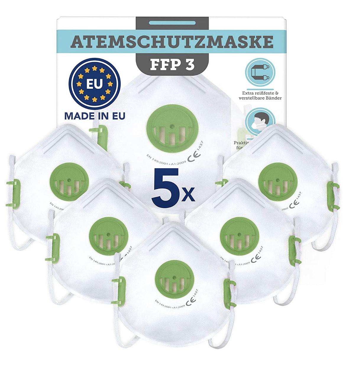 5x FFP3 CE-zertifizierte Masken – Made in EU[Amazon]