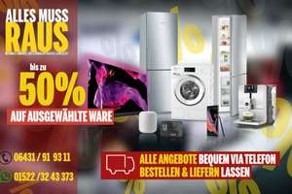 MediMax Limburg Räumungsverkauf, 15% auf PCs, Notebooks, Handys, 20% auf TVs, Groß-&Kleingeräte, 50% auf Blu-rays, DVDs