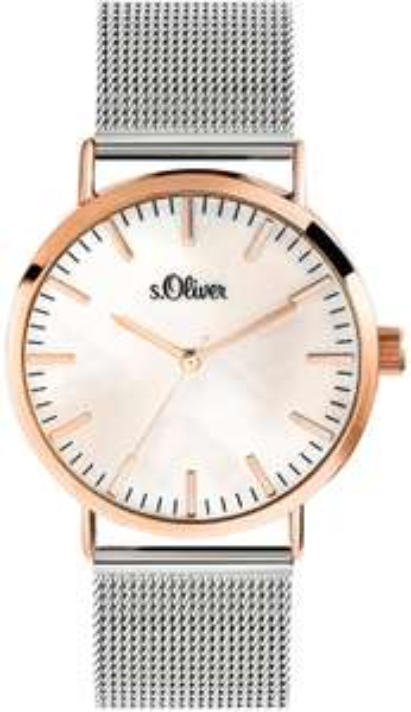 [Amazon Prime] s.Oliver Damen Analog Quarz Armbanduhr mit Edelstahlarmband, Silber-IP Roségold & 2 andere