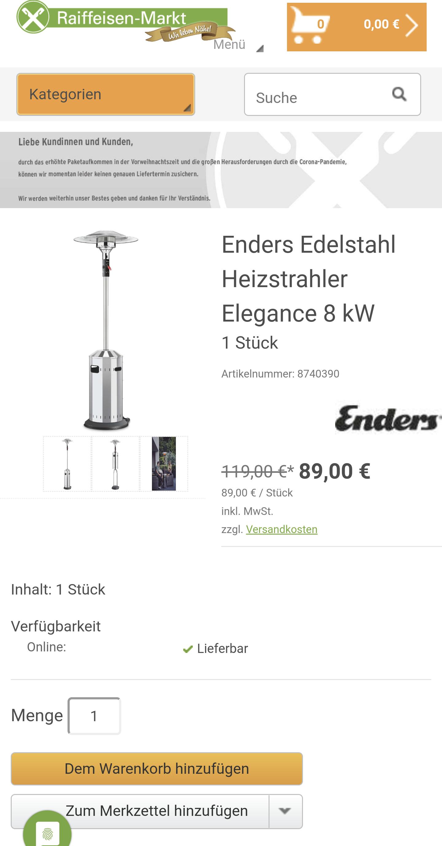 Enders Elegance 8KW Heizpilz Raiffeisen-Markt
