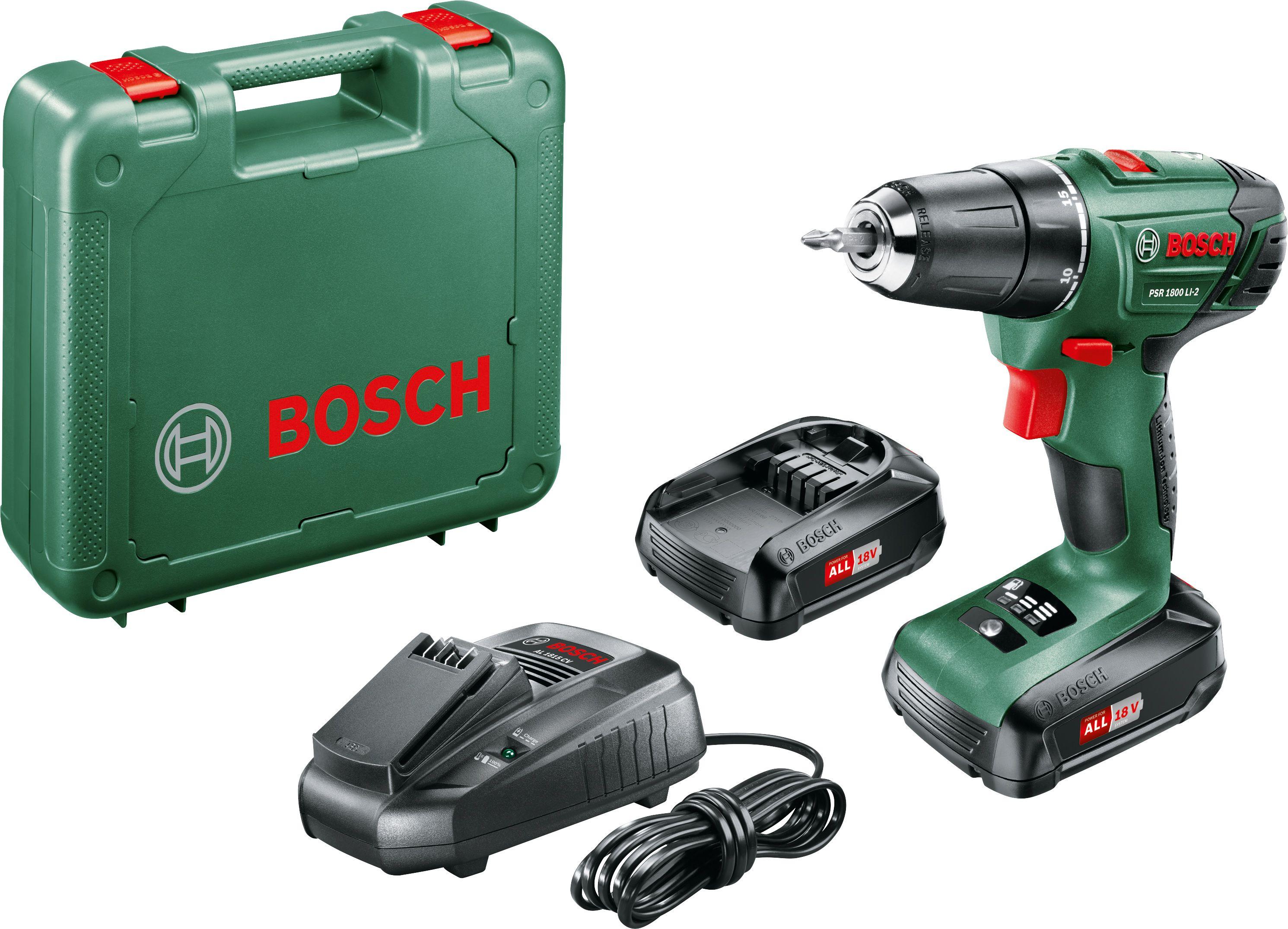 Bosch Akkubohrschrauber PSR 1800 LI-2 18 V, 2 x 1,5 Ah Akku, Ladegerät, Koffer