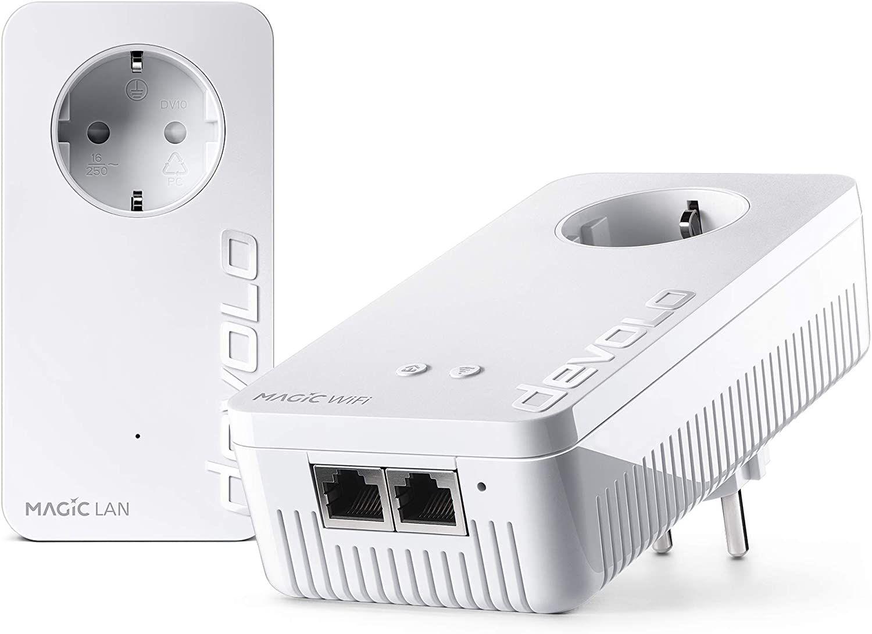 devolo Magic 1 – 1200 WiFi ac Starter Kit: 2 Powerline-Adapter, WLAN-Funktion (1200 Mbit/s, 2x Fast-Ethernet LAN-Anschlüsse, Mesh, G.hn)