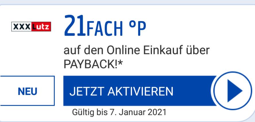 [Payback / XXXLutz Möbel] 21fach Punkten für den online Einkauf