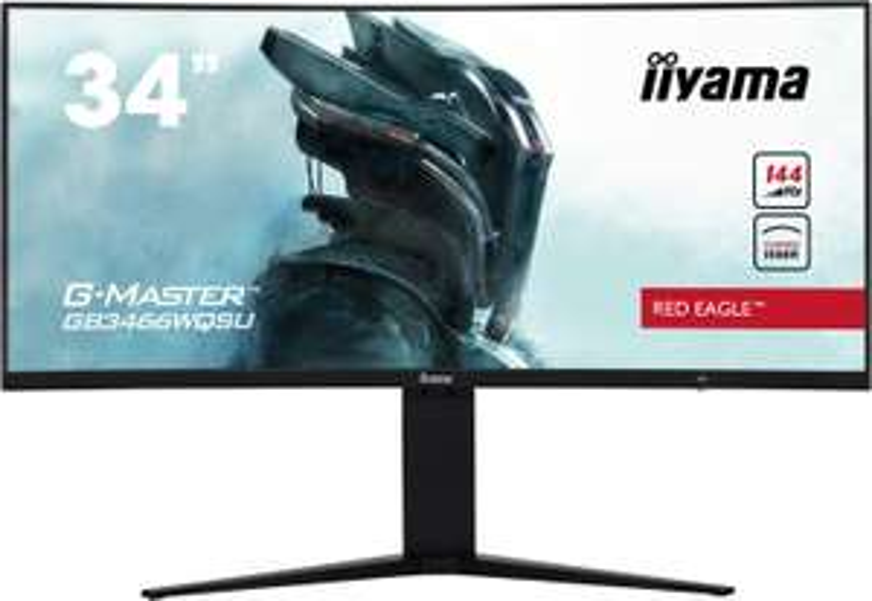 "Iiyama G-Master Red Eagle GB3466WQSU-B1 Curved (34"") VA LED-Monitor UWQHD (HDMI, DisplayPort, USB3.0, 1ms Reaktionszeit (MPRT), 144Hz,"