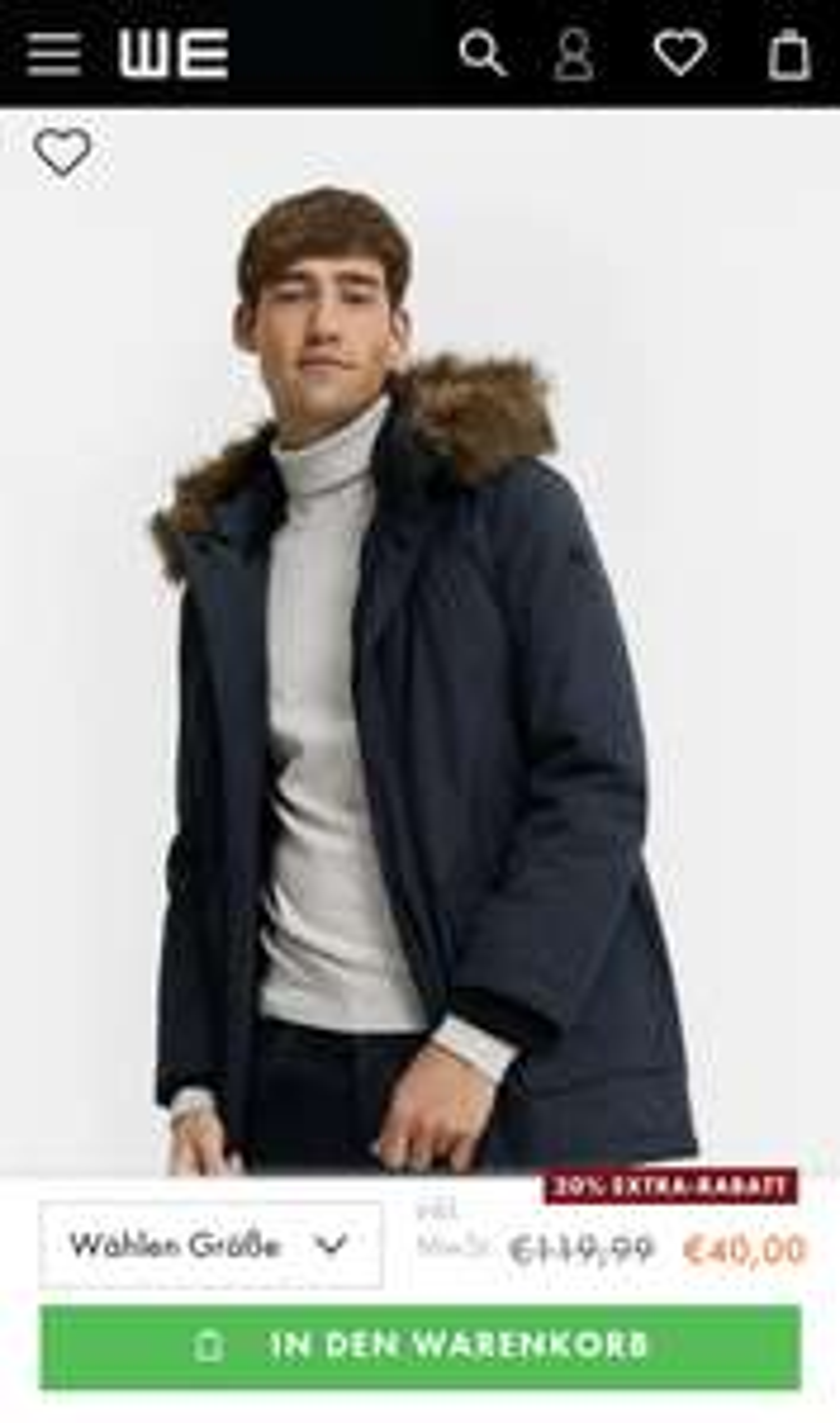 WE Fashion bis zu 70% + 20% extra Rabatt z.B. Herren Parka für 32€