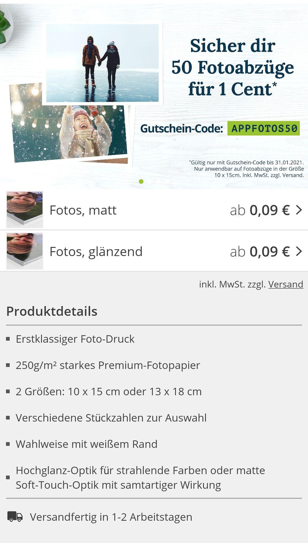 [PosterXXL] 50 Fotoabzüge, 10x15cm für 1Cent plus Versandkosten
