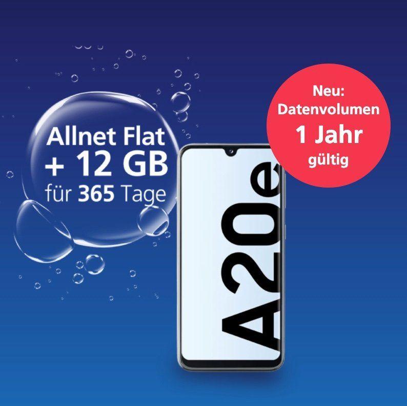 Samsung Galaxy A20e + o2 my Prepaid Jahrespaket mit 12GB LTE, SMS und Sprachflat