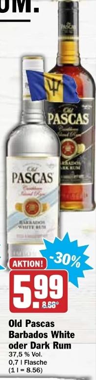 Old Pascas Barbados Rum - White oder Dark - je 0,7l Fl. für 5,99€ @ HIT-Märkte ab 04.01.